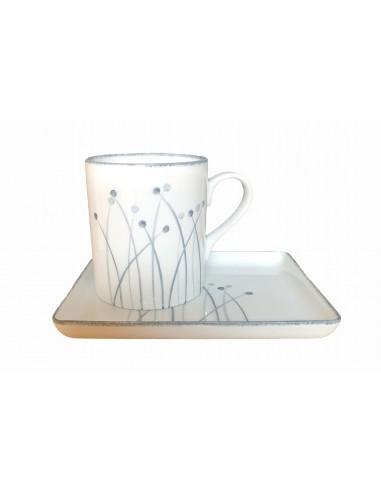 Set round mug and tray, Fireworks...