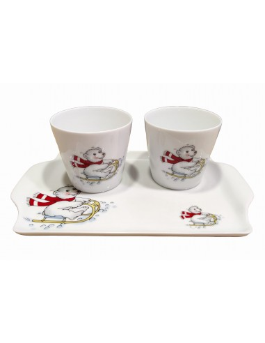 Set of 2 cups and tray, teddy bear decor