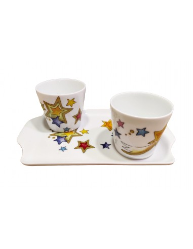 Set of 2 cups and tray, star decor
