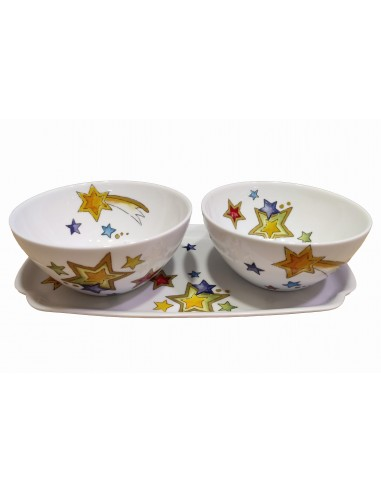 Set of 2 bowls and tray, star decor