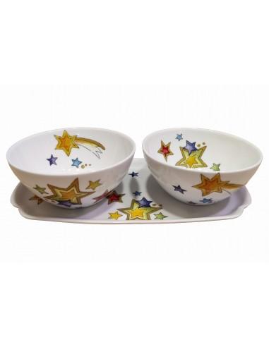 Set of 2 bowls and tray, star decor