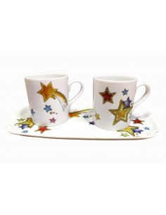 Set 2 mugs et plateau,...