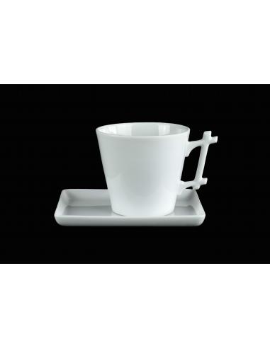 White round mug, Bamboo handle with tray