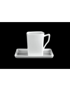 White square mug set with tray