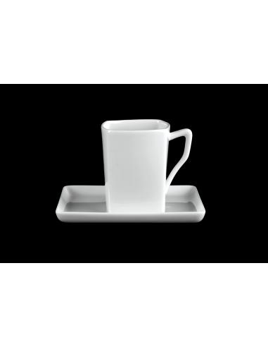 White square mug set with tray