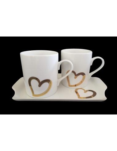 Set round mugs and tray, decor heart,...