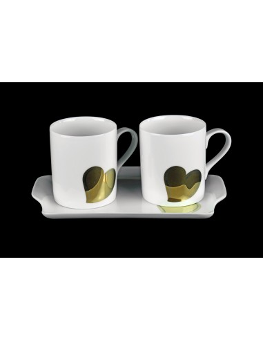 Set round mugs and tray, decor gold...