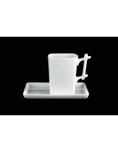 White square mug, Bamboo handle with...