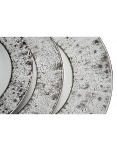 Assiette plate, service de table étoilée platine