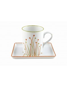 Set round mug and tray,...